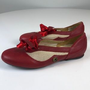 Sergio Tomani Red Flats with Ribbon Bow - Size 37